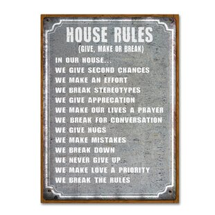 U0027House Rulesu0027 Textual Art On Wrapped Canvas