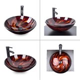 Tempered Glass Circular Vessel Bathroom Sink with Faucet by Elecwish