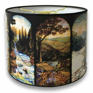 Paper lamp shades youll love seasons stained glass printed designer hard back 10 paper drum lamp shade aloadofball Gallery