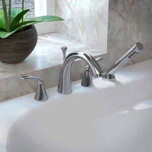 Roman tub faucet with sprayer wayfair fawn double handle deck mount roman bathtub faucet with shower wand publicscrutiny Images