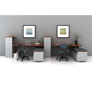 Trig Desking with Low Storage L-Shape Desk Office Suite