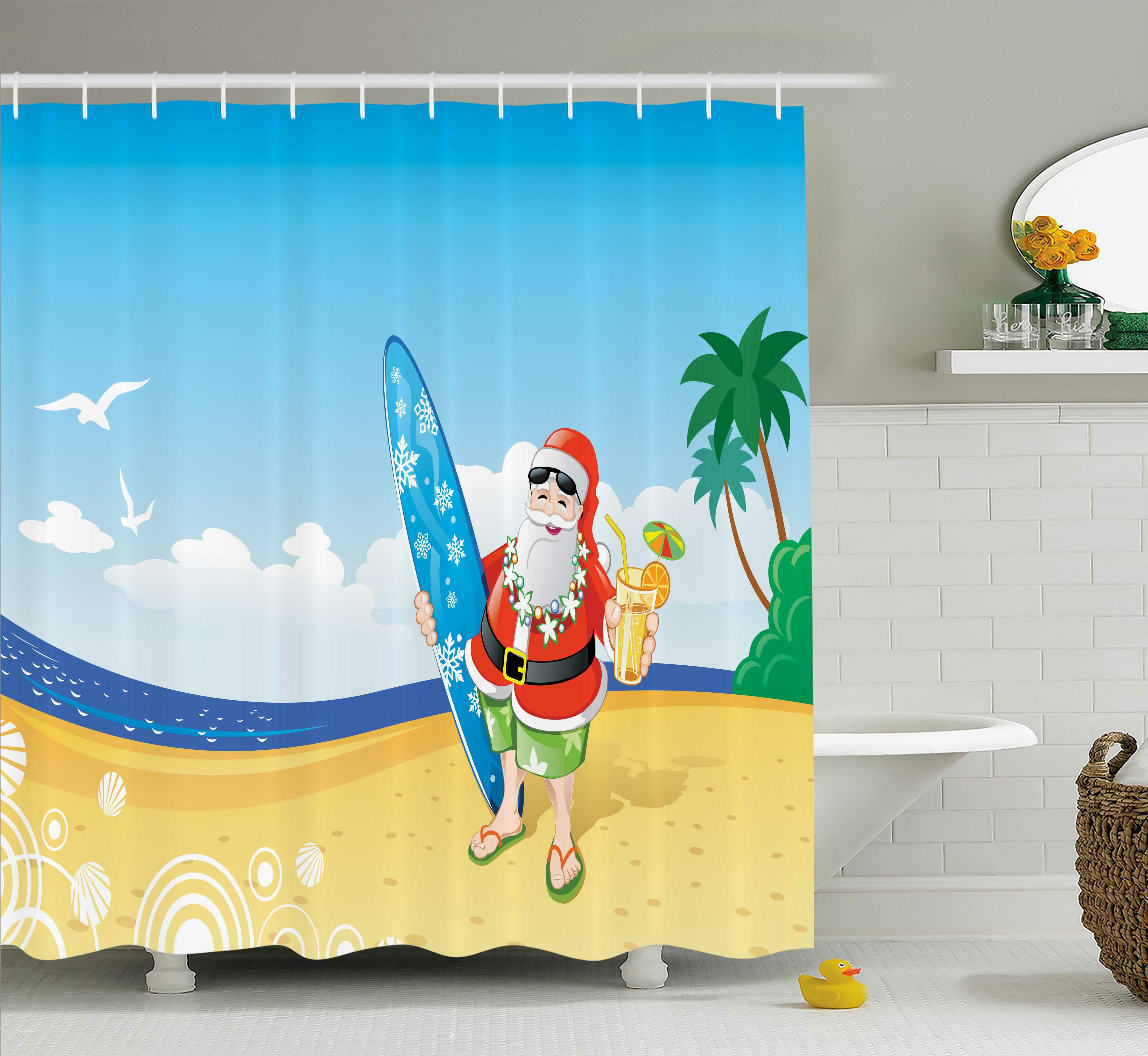 The Holiday Aisle Christmas Santa on Beach Surf Shower Curtain ...