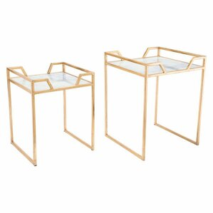 Brussels Faux Marble 2 Piece Nesting Tables by Mercer41
