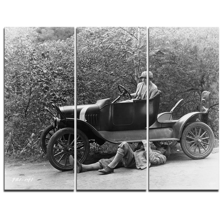 DesignArt Vintage Car Repair - 3 Piece Memorabilia on Wrapped Canvas ...