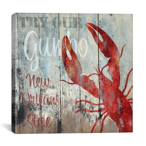 New Orleans Seafood Vintage Advertisement on Canvas by Breakwater Bay