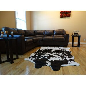 chanler black u0026 white cow fur area rug