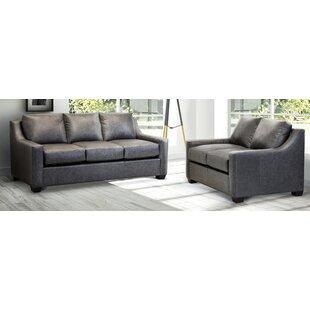 Rosmunda Distressed Grey Top Grain Leather Sofa And Loveseat by Ebern Designs