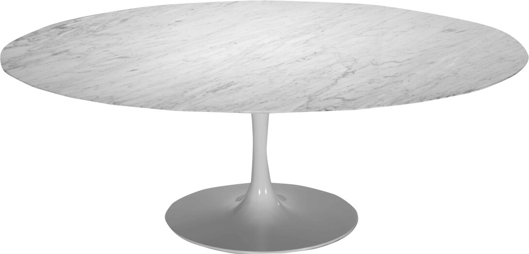 Captivating Larkson White Oval Marble Dining Table