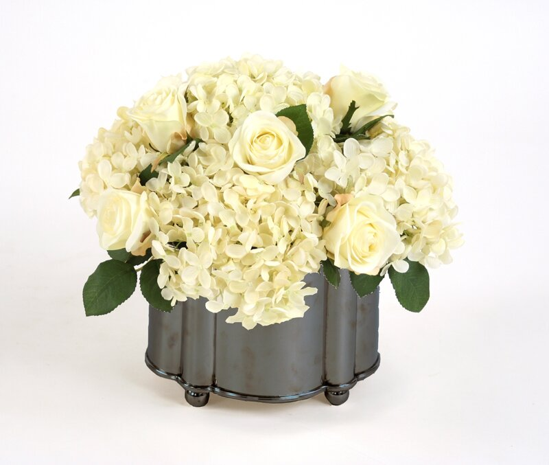 Cream White Roses, Hydrangeas In Footed Oval Planter