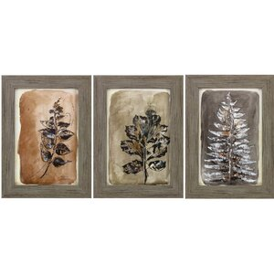 Sepia Leaves II 3 Piece Framed Painting Print Set by Propac Images