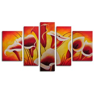 Singing Lilies 5 Piece Painting on Canvas Set by My Art Outlet