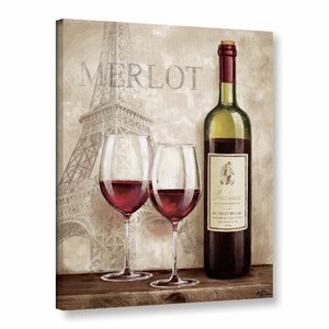 'Wine In Paris III' Graphic Art on Wrapped Canvas by Charlton Home