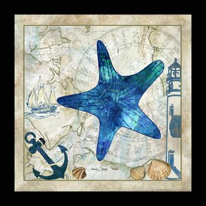 Map 'Nautical Star Fish' Framed Graphic Art Print by Buy Art For Less