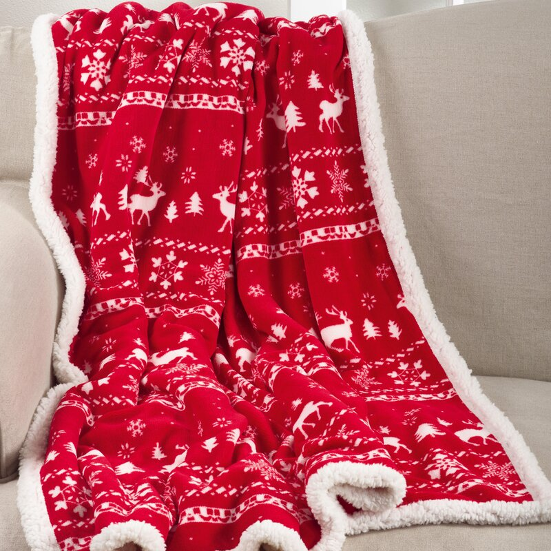 The Holiday Aisle Fair Isle Design Christmas Sherpa Reversible ...