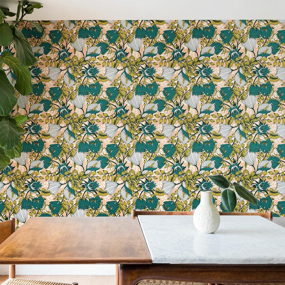 East Urban Home Marta Barragan Camarasa Tropical Autumnal Bloom 10 L X 24 W Matte And Stick Wallpaper Roll Wayfair