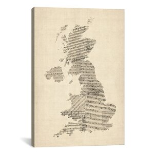 'Great Britain Music Map II' by Michael Tompsett Graphic Art on Canvas by iCanvas