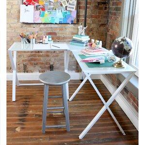 ferro lshape corner desk black black with clear top smoke white