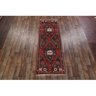 Shopping for One-of-a-Kind Mayhall Geometric Zanjan Persian Hand-Knotted Runner 3'8 x 10'9 Wool Red/Black Area Rug By Isabelline