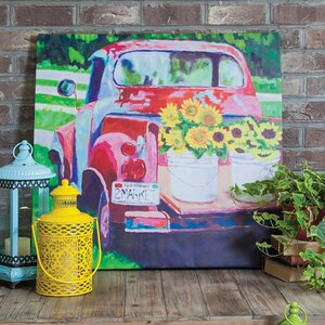 Red Truck Outdoor Painting Print on Canvas by August Grove