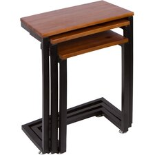 3 Piece Cedar Wood and Metal Nesting Tables by Trademark Innovations