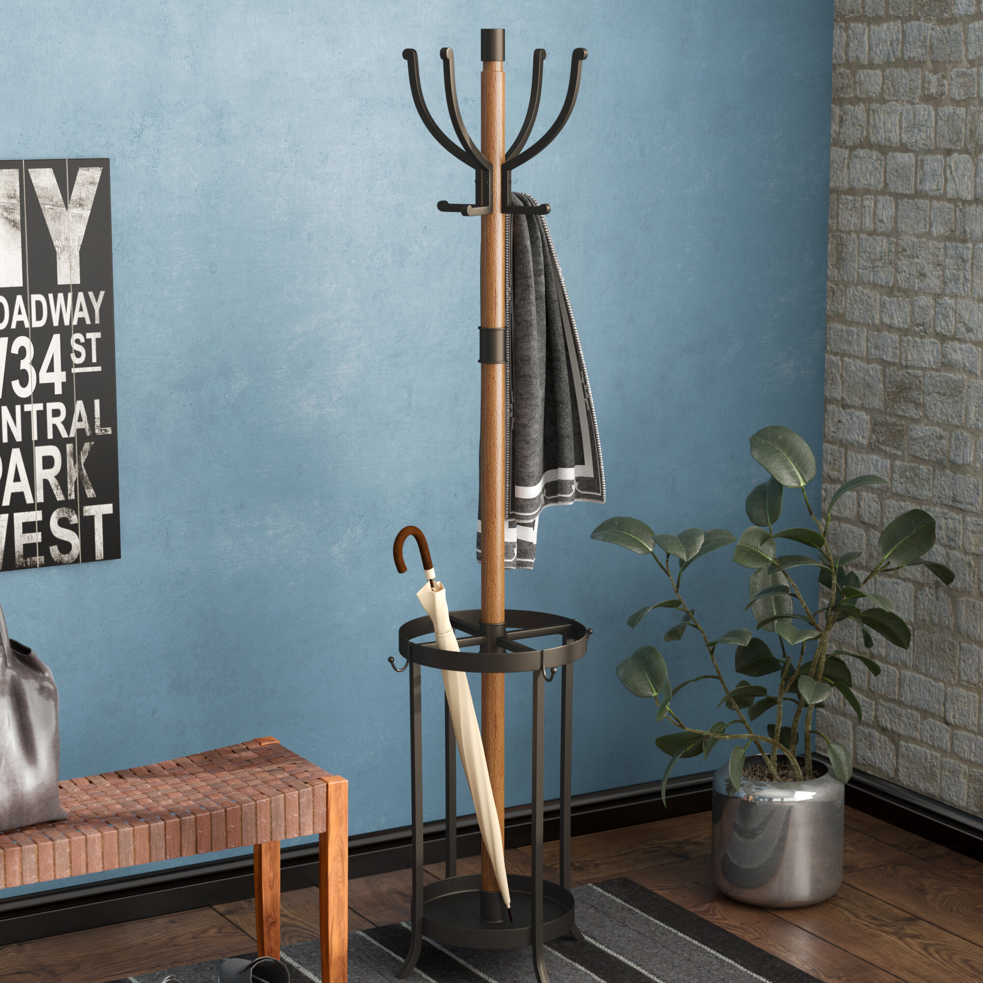 17 Stories Andreas Wood and Metal Coat Rack with Umbrella Stand ...