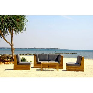 Seaside 5 Piece Teak Sunbrella Sofa Set with Cushions By Trijaya Living