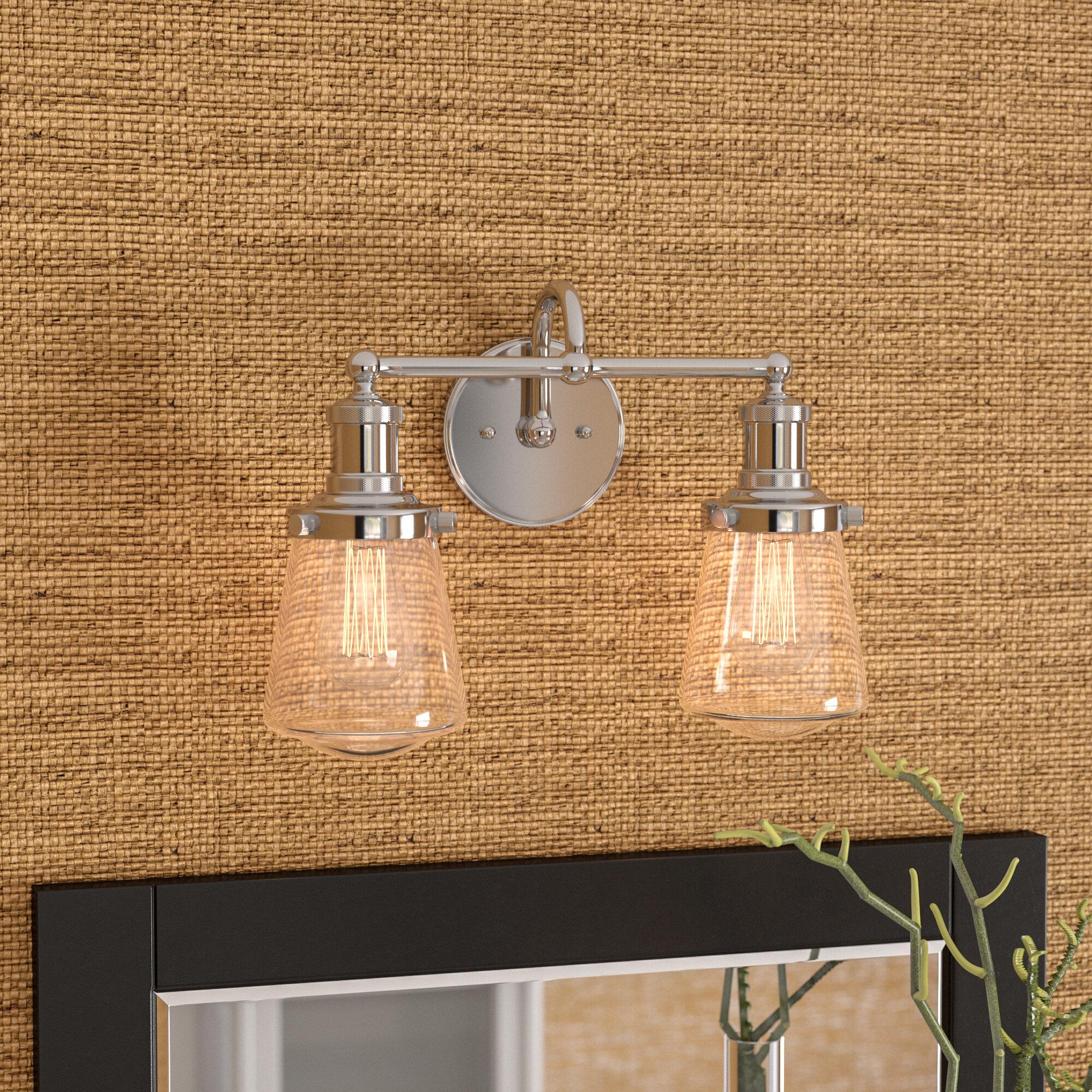 Beachcrest Home Mulvaney 2-Light Vanity Light with Metal Fixture ...