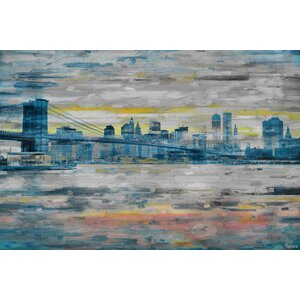 'Bridge Skyline' by Parvez Taj Painting Print on Wrapped Canvas by Parvez Taj