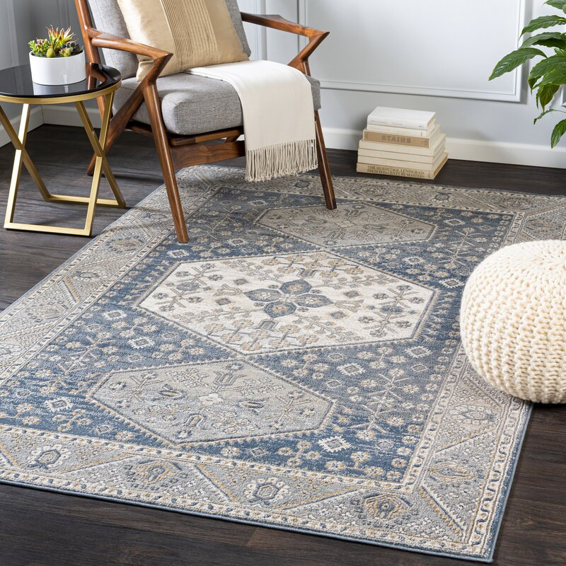Foundry Select Augie Oriental Light Blue Ivory Area Rug Wayfair