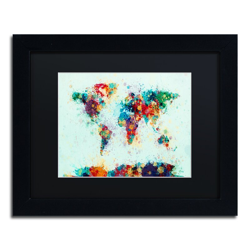 Trademark art world map paint splash by michael tompsett framed world map paint splash by michael tompsett framed graphic art gumiabroncs Image collections