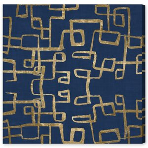 'Navy Geometry Gold' Graphic Art on Wrapped Canvas by Willa Arlo Interiors