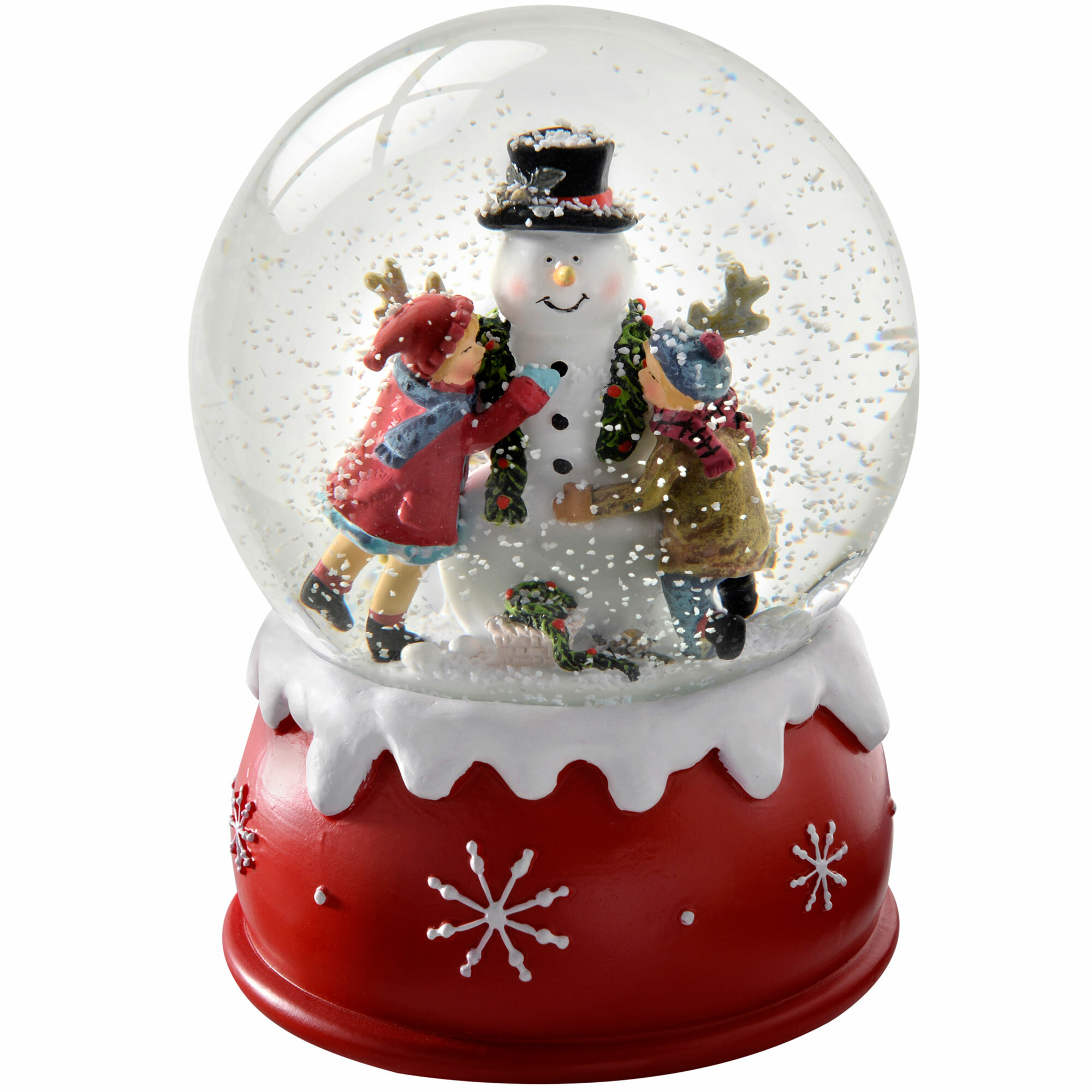 Christmas Snow.Children And Snowman Christmas Snow Globe