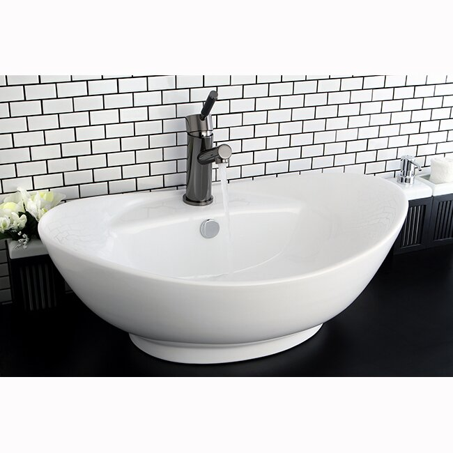 Harmon Glass Oval Vessel Bathroom Sink With Overflow