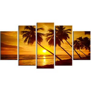 'Beach Sunset in Island Barbados' 5 Piece Photographic Print on Wrapped Canvas Set by Design Art