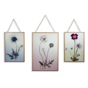 'Copper Wild Flowers' 3 Piece Photographic Print Set on Glass by Arthouse