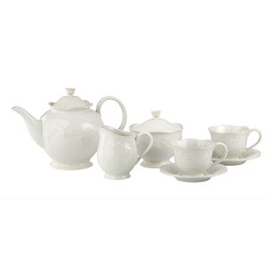 French Perle White 7-piece Tea Set