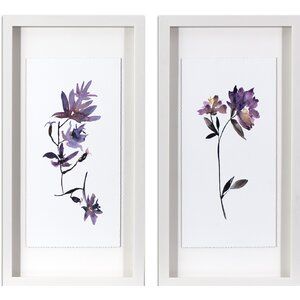 'Violet Watercolor Flowers' 2 Piece Framed Graphic Art Print Set by Andover Mills
