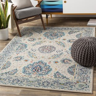 Wootton Oriental Aqua/Dark Blue Area Rug by Bungalow Rose