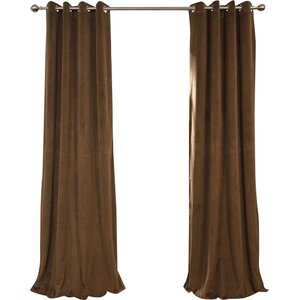Pat Solid Grommet Blackout Velvet Thermal Single Curtain Panel