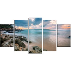 'Gloomy Tropical Sunset Beach' 5 Piece Photographic Print on Wrapped Canvas Set by Design Art