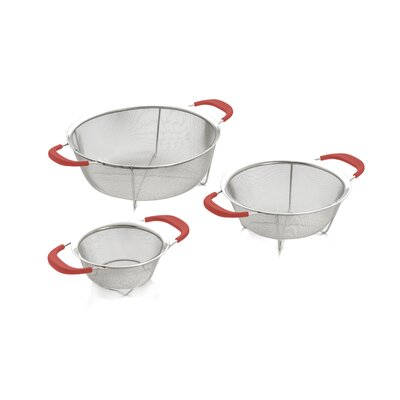 Cook Procook Pro 3 Piece Stainless Steel Colander Cook Pro Size 10 H X 6 5 W X 2 5 D Color Red Dailymail