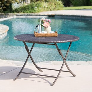 Best Reviews Hutt Outdoor Wicker Folding Dining Table By Latitude Run