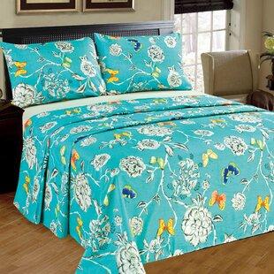 Read Reviews Butterfly Wonderland 100% Cotton Flat Sheet Set ByTache Home Fashion