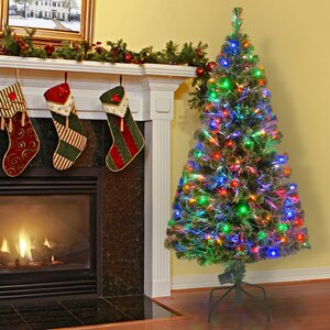 5' Green Pine Artificial Christmas Tree with 150 Fiber Optic/LED Multicolor Lights with Stand