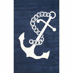 Islington Hand-Woven Wool Navy/White Area Rug
