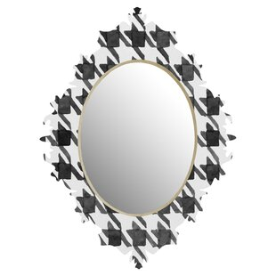 Deny Designs Social Proper Houndstooth BW Quatrefoil Wall Mirror