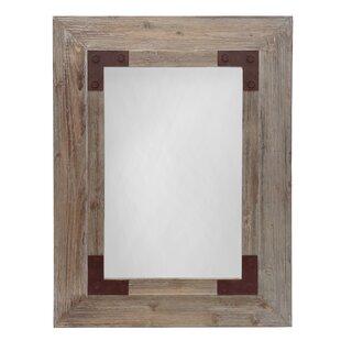 Gracie Oaks Powe Stoves Rectangular Wood Accent Mirror
