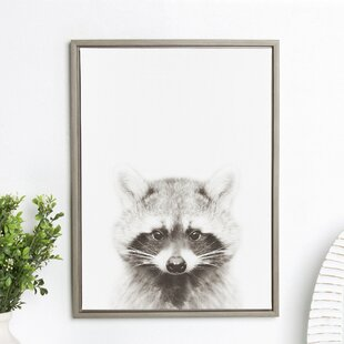 5261a6b3c48  Sylvie Raccoon Black and White Portrait Gray  Framed Photographic Print on  Canvas