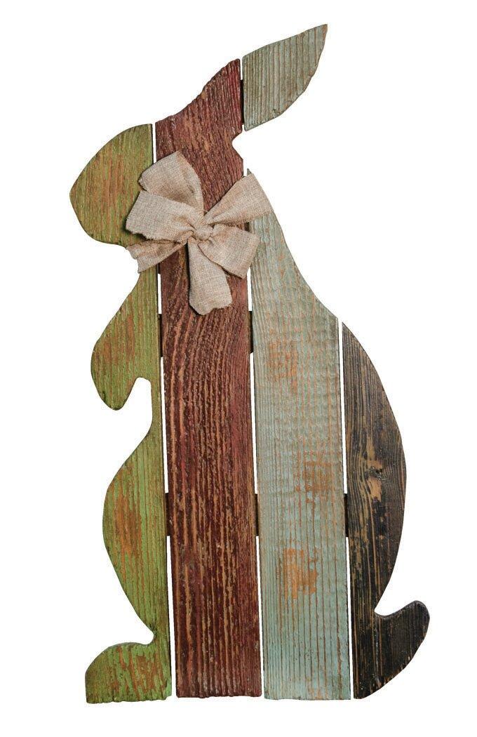 August Grove Cottage Wood Slat Rabbit with Bow Wall Décor | Wayfair