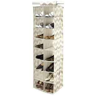 Textured Chevron 16-Compartment Hanging Shoe Organizer ByMacbeth Collection